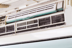 Dirty air conditioning unit full of dust dirt on coil Royalty Free Stock Photography