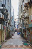 Dirty alleyway with aircon outdoor units Stock Image