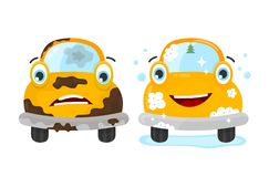 Free Dirty And Clean Car Set. Vector Flat Modern Stock Image - 100669091