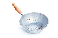 Dirty animal feeding pan royalty free stock photo