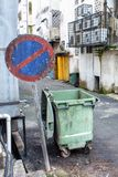Back alley no entry with trash bin stock photo