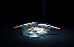 Ashtray And Two Cigarette Stock Photo