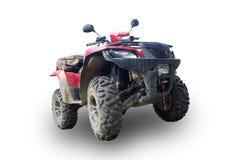 Dirty ATV. Red ATV isolated on white Stock Photos