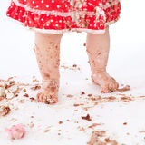 Dirty baby feet on white background Stock Photography