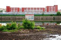 Dirty bank of Oka river in Orel, Russia Stock Image