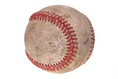 Dirty Baseball. Isolated against white background stock photography