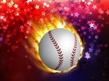 Dirty baseball speeding through the air on fire. On usa symbolic abstract bacground could be used on independence day vector Royalty Free Stock Photos