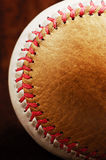 Dirty baseball, white and brown, close-up Stock Images