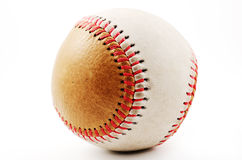 Dirty baseball, white and brown on a light background Royalty Free Stock Photo
