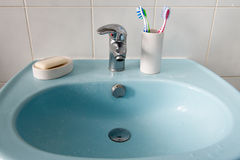 Dirty bathroom washbasin Stock Image