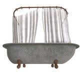 Dirty bathtube with shower curtain Stock Photos