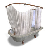Dirty bathtube with shower curtain Stock Images
