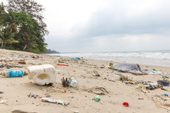 Dirty beaches.Caused by the dumping of undisciplined. Stock Photos