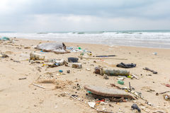 Dirty beaches.Caused by the dumping of undisciplined. Dirty beaches.Caused by the dumping of undisciplined royalty free stock image