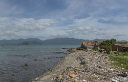Dirty beaches in Vietnam near Nha Trang city Stock Photography