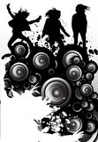 Dirty Beats. Design featuring women listening to music on mp3's and speakers Royalty Free Stock Images
