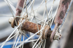 Dirty Bicycle Spokes rust Stock Photography