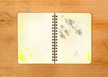 Dirty blank open note book on old background Royalty Free Stock Photo