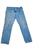 Dirty Blue Jeans With Legs Spread Stock Photos