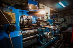 Dirty blue milling machine royalty free stock image
