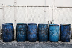 Dirty blue plastic garbage containers Royalty Free Stock Images