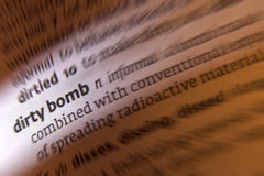 Dirty Bomb - Terrorism. A dirty bomb is an improvised radiological / nuclear weapon that combines radioactive material with conventional explosives. The purpose stock images