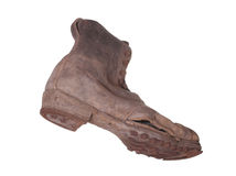 Dirty boot with steel shoe sole. On white background Royalty Free Stock Images
