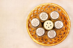 Dirty bottle shakers with salt pepper and spices. Top view Royalty Free Stock Photos