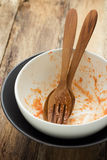 Dirty bowl on wood background Stock Photo