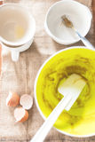 Dirty bowls and egg shells Royalty Free Stock Photos