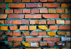 Dirty brick wall. Over time, the wall loses its appearance Stock Photo