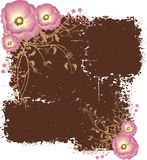 Dirty Brown Grunge Pattern with Pink Flowers Stock Image