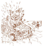 Dirty car (). The driver doesn't watch purity. As pig Stock Image