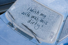 Dirty car. The dirty car with funny text Stock Image