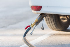 Dirty car on gas station Stock Image