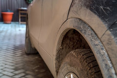 Dirty car side. Close-up image of dirty car side required to be washed Stock Photo