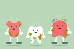 Dirty cartoon dental - tooth, tongue and teeth retainer Stock Photos