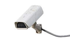 Dirty CCTV camera with wire Stock Photo