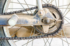 Dirty chain of old motorcycle Royalty Free Stock Images
