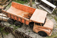 Dirty children truck at the garden Royalty Free Stock Photo