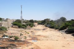 Dirty city Hargeisa. Garbage in the African city Stock Photos