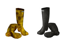 Dirty and clean boots Royalty Free Stock Images