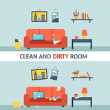 Dirty and clean room. stock illustration