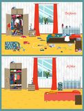 Dirty and clean room. Disorder in the interior. Room before and after cleaning. Flat style vector illustration. Dirty and clean room where the young couple and royalty free illustration