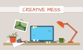 Dirty and clean work table. Creative mess. Disorder in the interior. Table before and after cleaning. Flat style vector illustration Stock Images