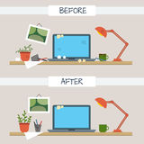Dirty and clean work table. Creative mess. Disorder in the interior. Table before and after cleaning. Flat style vector illustration Royalty Free Stock Photos