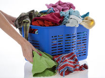 Dirty clothes in basket Royalty Free Stock Photos