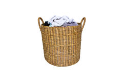 Dirty clothes in the basket isolated Royalty Free Stock Images