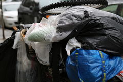 Dirty clothes of homeless person stock image