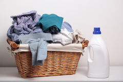 Dirty clothes in the laundry basket Royalty Free Stock Photos
